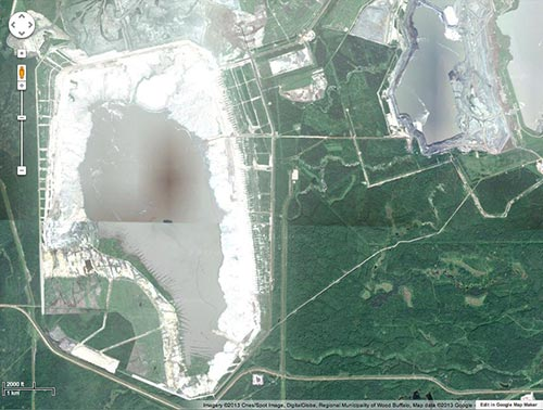 oil sands waste pond
